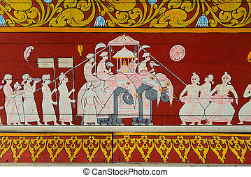 Buddhist sacred ritual procession - Detail art painting with...