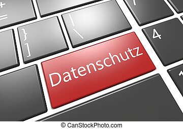 Datenschutz - Security Concept: modern keyboard with a red...