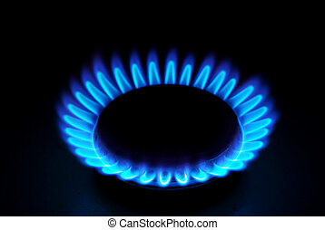 flames of gas - Blue flames of gas stove in the dark...