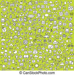 Big doodled ecology icons collection in black-and-white....