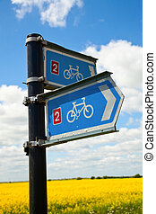 Bikeway directional sign - Directional sign on National...