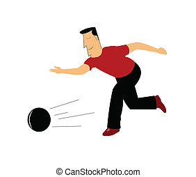 man bowling - male bowler in action