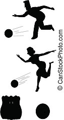 bowling silhouettes - bowling action elements