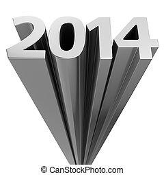 Upcoming 2014 - Chrome digits 2014 moving up on the white...