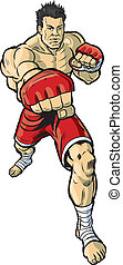 Mma Fighter Throwing Punch - A vector cartoon illustration...