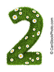 Natural grass number 2 - Number 2 photo realistic grass font...