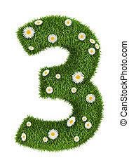 Natural grass number 3 - Number 3 photo realistic grass font...