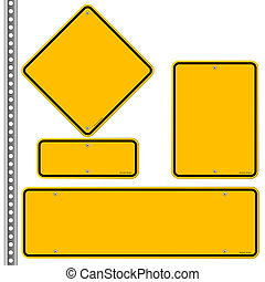 Yellow Roadsigns Set - Blank signs in various shapes...