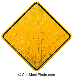 Rusty Yellow Sign - Empty roadsign with black border...