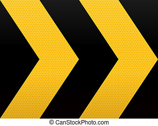 Seamless Yellow Black Arrow - Wide Road Warning Sign with...