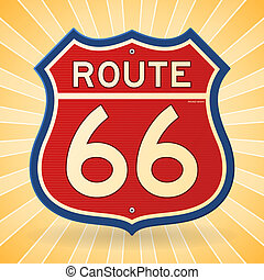 Vintage Route 66 Symbol - Transportation Road Sign in red...