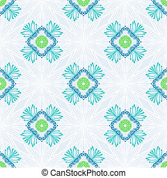 Vector pattern with stylized flowers in thin lines -...
