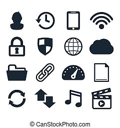 Computer dashboard icons set