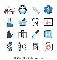 Ambulance icons set color