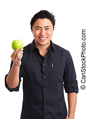 Im living a healthy life! - Healthy living. Man holding a...