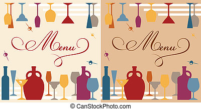 Menu template for bar or restaurant with dishware and...