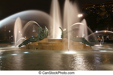 Swann memorial fountain in downtown Philadelphia at night -...