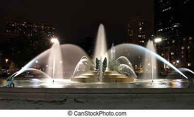 Swann memorial fountain in downtown Philadelphia at night -...