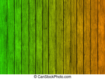 green and orange wood panels texture background