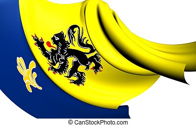 Flemish Community Commission Flag. Close Up.
