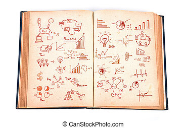 Vintage book with business graph  isolated on white background