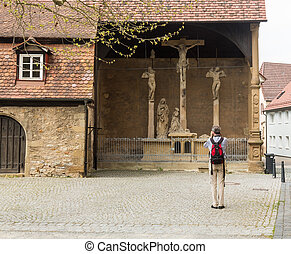 Crucifixes in old town of Bad Wimpfen Germany - BAD WIMPFEN,...