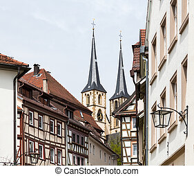 City or old town of Bad Wimpfen Germany - View down street...