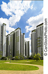 Green Estate - A park leading to a green estate in...