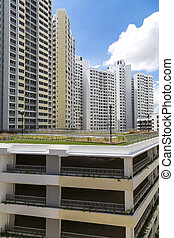 Estate carpark - A new housing estate with a multi storey...
