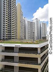 Estate carpark - A new housing estate with a multi storey...