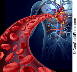 Heart Blood Health - Heart blood health with red cells...