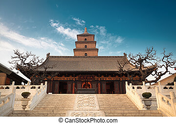 the great buddha's hall with giant wild goose pagoda...