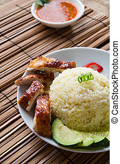 roasted chicken rice, famous singapore food