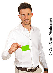 Business man giving green card - Business man giving blank...