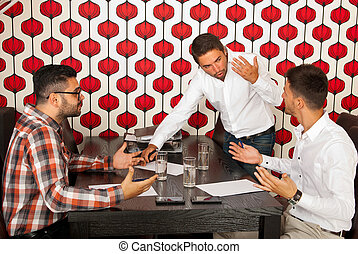Business men having discussion at meeting - Business men...