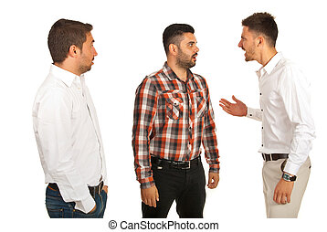 Business man yelling at his colleague and other man being...