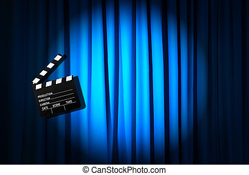 Movie clapper board against curtain
