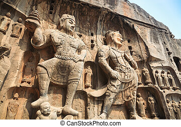 longmen grottoes buddha statue,the heavenly kings are solemn...