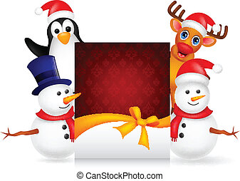 deer,penguin and snowman with chris - vector illustration of...