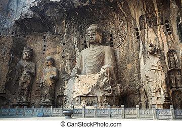 locana buddha statue niche - buddha statue niche in longmen...