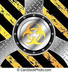 Industrial background design with bio hazard sign -...