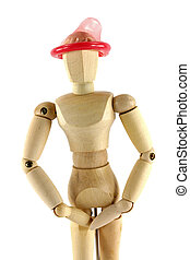 Thinking with the right head - A wooden mannequin with...