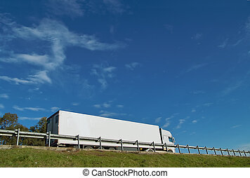 Fast Moving Truck - Fast moving truck with white container...