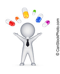 Happy 3d person and colorful pills.Isolated on white.