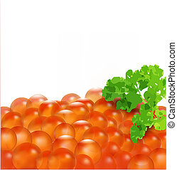 vector red caviar with parsley, isolated on white background...