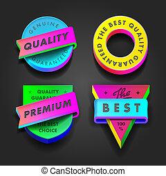 Premium quality and guarantee multicolored labels - Premium...