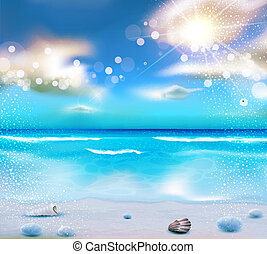vector evening seascape with clouds