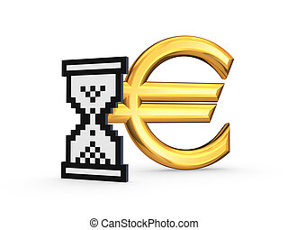 Symbol of euro and sandglass iconIsolated on white