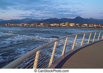 Versilia, Tuscany - View of the coastline of versilia from a...