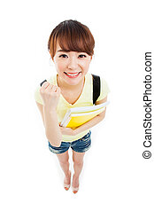 Showing thumb beautiful student high angle shot isolated on...